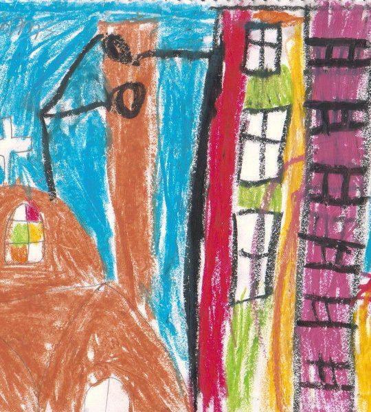 λαδοπαστέλ παιδική ζωγρφιά εκκλησία