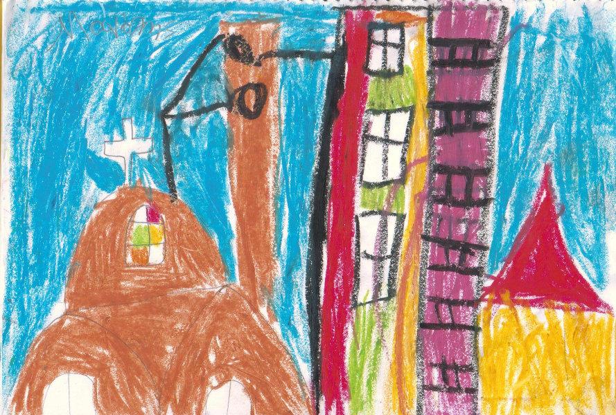 λαδοπαστέλ παιδική ζωγραφιά εκκλησία