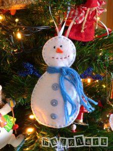 χριστουγεννιάτικο στολίδι τσόχα χιονάνθρωπος